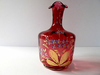 VICTORIAN  CRANBERRY GLASS RUFFLE LIP VASE with HANDPAINTED FLOWERS