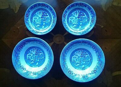 Willow Pattern vintage afternoon tea bowl and dish set for two