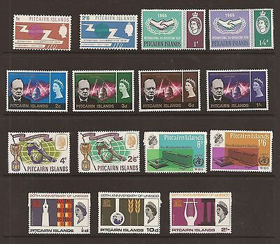 Pitcairn Island - 1965-66 issues complete. sg 49-63. Fine mounted mint. cat £90+