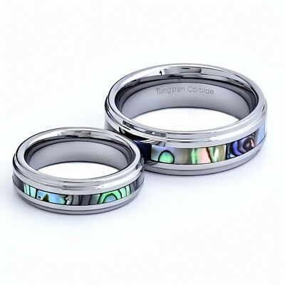 Tungsten His & Hers Engagement & Wedding Ring Sets Abalone Shell Step Edge