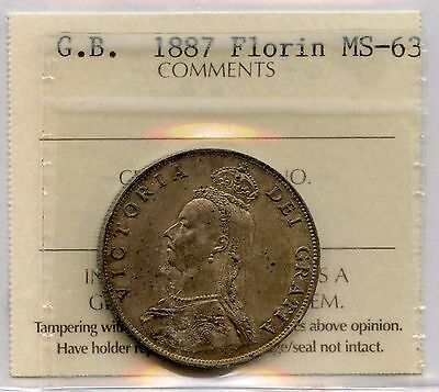 1887 Great Britain Florin Graded UNC by ICCS