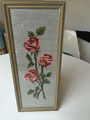 3 Rose Hand Stitched Framed Tapestry Picture