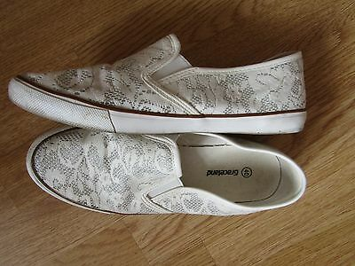 Graceland Ladies Shoes White with Silver Size UK 7