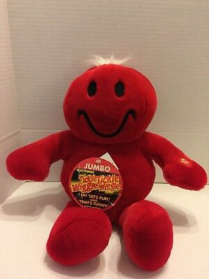 "-Dan Dee Tickle Wiggle Smiley Face Plush Red Large 18"" Tags Tested Working"
