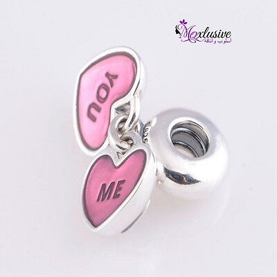 Pandora S925 Sterling Silver You And Me with Pink Enamel and Clear Pendant Charm