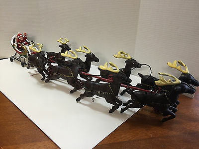 Large Heavy Cast Iron Santa Claus and 8 Reindeer w/Sleigh Collectible Toy