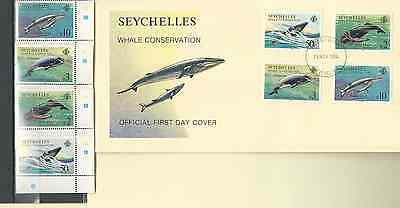Seychelles 1984 Official Fdc & Mnh Set Sc 555-58 Whale Conservation Free Ship