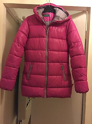 United Colors Of Benetton Girls Pink Padded Thick Winter Coat 11-12 Years 180cm