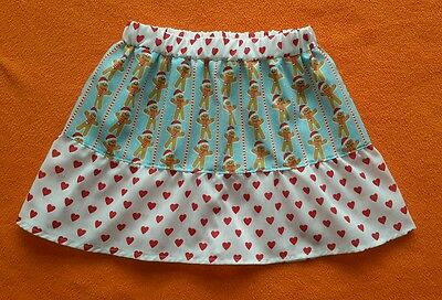 New Girls Christmas Gingerbread Men Ruffle Skirt. Age 4-7. Xmas Jumper. Quirky.