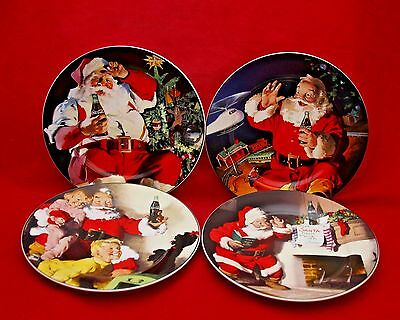 Sakura Set of 4 COCA-COLA Holiday Portraits Santa Dessert Plates Coke NIB