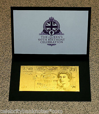 PURE 24K GOLD **£50** QUEENS 90TH BIRTHDAY - 9.999 PROOF Banknote/Bill RARE*