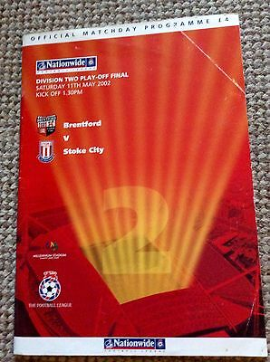 Division 2 Play off Final Official Programme Brentford v Stoke City 2002