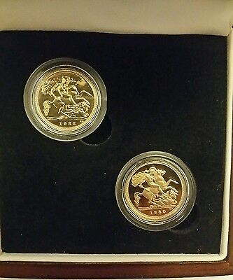 gold half sovereign two coin set 1980-1982  (Proof & BU)
