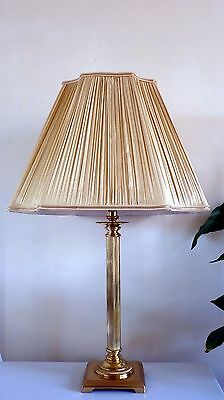 Elegant John Lewis Table Lamp - Brass Reeded Column and Ivory Pleated Shade