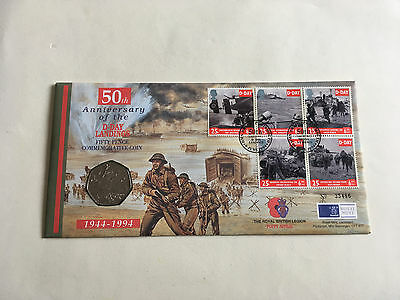 1994 50th Anniversary of D-Day Landings 50p Coin and Stamps