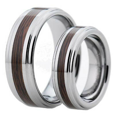 Tungsten His & Hers Engagement Wedding Band Ring Sets Wood Inlay Step Edge