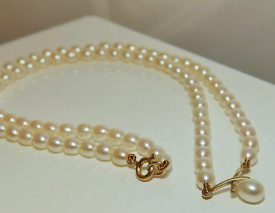 """9Ct Yellow Gold Real Pearl Kiss String 16"""" Necklace Collar"""