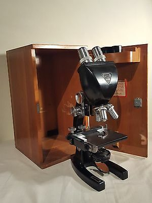 Vintage Bausch & Lomb Binocular Microscope with Wooden Case