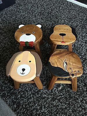 Shabby Chic Childrens And Kids Solid Wood Wooden Stool Seat Furniture Dog Design