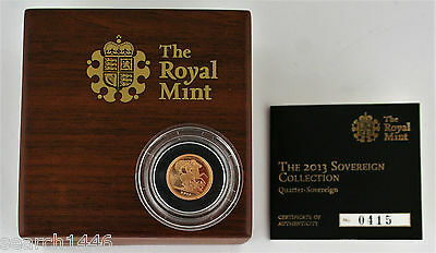 2013 Gold Proof Quarter Sovereign coin, Royal Mint box with COA, Booklet & Outer