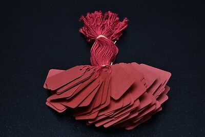 100 Red Strung Price Tags 45Mm X 28Mm Swing Tickets