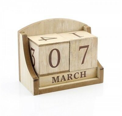 Natural Perpetual Wooden Block Calendar Shabby Chic Date Home Desk Office