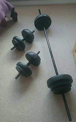 35kg dumbell and barbell set, vinyl free weights.