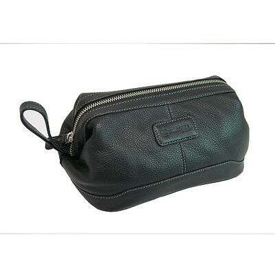 Wenger Swiss Gear 100% Leather Travel Toiletry Wash Bag - Black