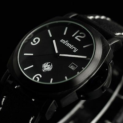Infantry Mens Date Analog Wrist Watch Sport Tactical Dress Style Black Leather