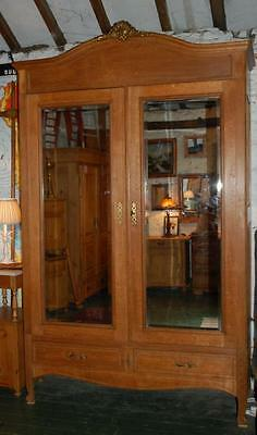 Stately Antique French Oak Mirrored Double Armoire / Wardrobe / Dismantles