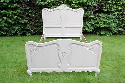 Vintage French Painted Oak Double Bed With Base / Louis Xv Revival Chateau Chic