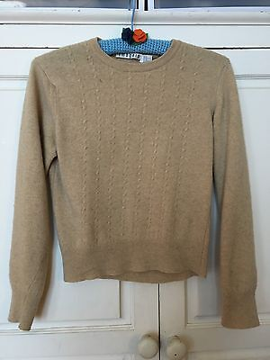 Vintage Cashmere Sweater Beige Oatmeal Cable 50s 60s Pin Up Sz Small