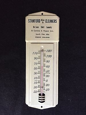 Excellent Vintage Advertising, Mounted Thermometer For Stanford Drive In Cleaner