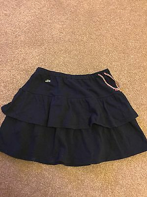 Lacoste Girls Tiered Skirt Navy Blue Cotton Age 14