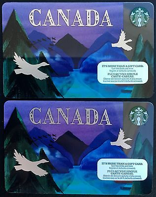2 x STARBUCKS CARD CANADA 2016 Mountain Geese English & French New