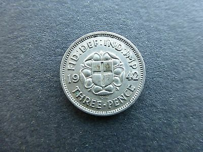 George vi silver Threepence coin 1942 key date good grade