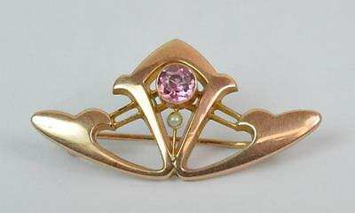 Art Nouveau 9ct Rose Gold Pink Stone & Seed Pearl Ladies Brooch D1464