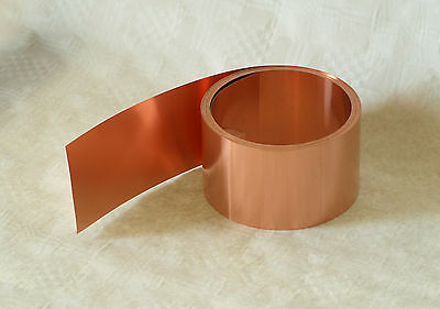 Copper sheet, copper foil, 0,1 mm thick,  30 mm wide, Length 5 m on a roll