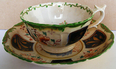 GAUDY WELSH - 1840s Unusual Tea cup and Saucer in the Burma Pattern