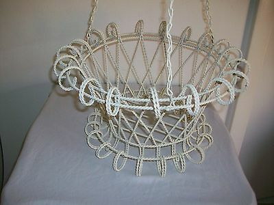 Vintage White Painted Twisted Metal Hanging Basket Planter Retro Shabby Garden