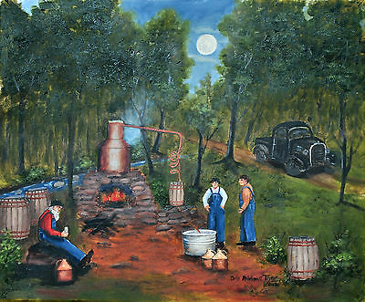 Moonshine Print Popcorn North Carolina Black Truck Still Moon Folk Art Arie Tayl