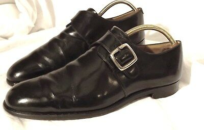 Mens Vintage Grenson Black Leather Buckle-up Monk Shoe size 8 Great Condition
