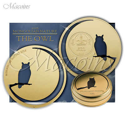 The Owl Mongolian Nature 2016 Mongolia 500 Togrog Silver Gold Gilded Coin