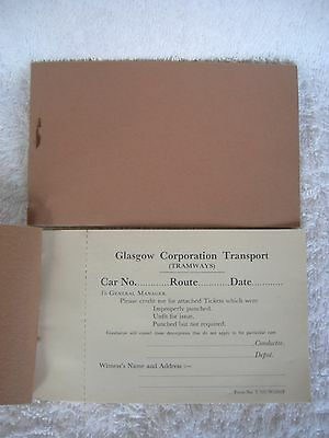 Glasgow Corporation Transport[Tramways] Conductor ticket credit booklet