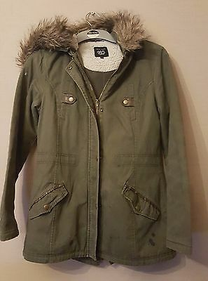 New look - Khaki Green Parka - Hood has Detachable Fur Trim - Age 12-13