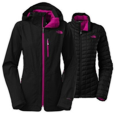 New $349 THE NORTH FACE THERMOBALL SNOW TRICLIMATE 3in1 JACKET COAT BLACK size L