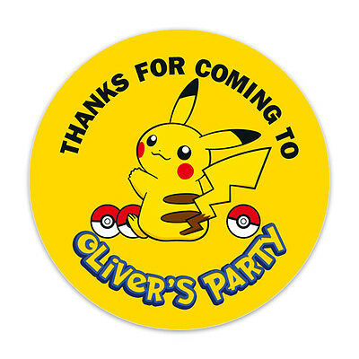 Personalised Pokemon Pikachu Birthday Party Stickers Labels Thank You