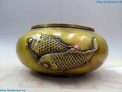 China brass copper carved fine four fish Chinese brush Brush Wash Statue