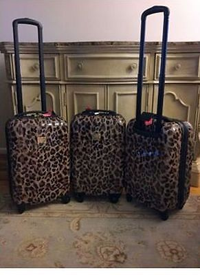 NWT Victoria's Secret Hard Sided Spinner/Wheelie ~Carry On~Leopard Suitcase