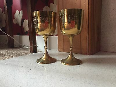 Pair Of Vintage Decorative Brass Goblets